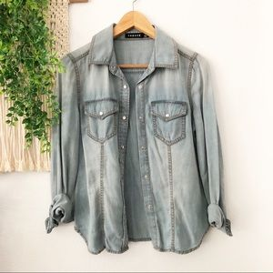 TROUVE Western Chambray Snap Button Over Shirt